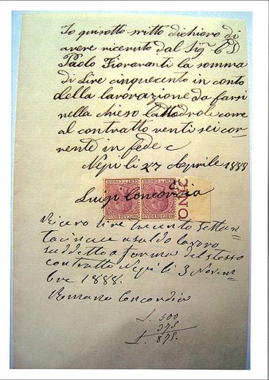 Ricevuta di pagamento del 1888 sottoscritta da Luigi e Romano Concordia